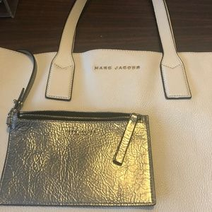 Marc Jacobs White and Silver Leather Tote Bag